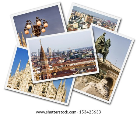 Collage of photos of Milan Italy isolated on the white background - stock photo