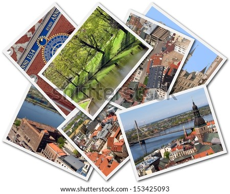 Collage of photos of Riga Latvia isolated on the white background - stock photo