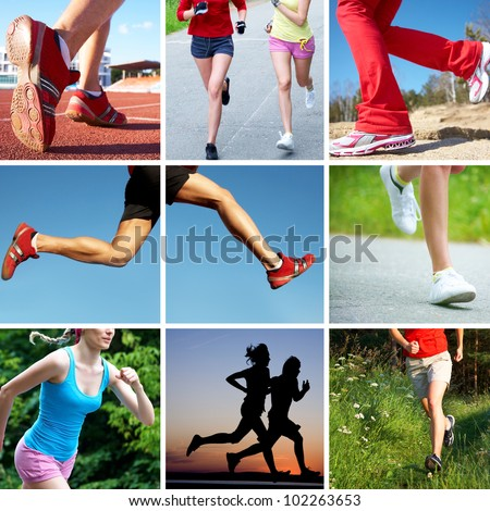 collage of photos of the feet of runners on sports and fitness - stock photo