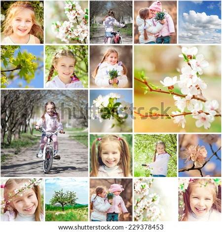 collage of photos on a spring theme - stock photo