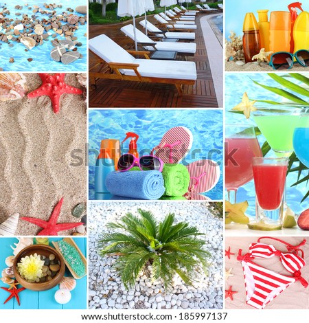 Collage of photos summer holiday - stock photo