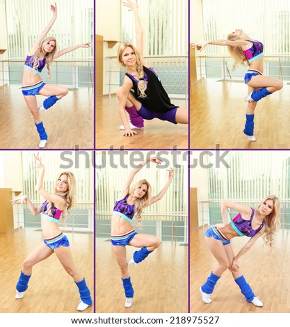 Collage of photos with beautiful woman dancing in hall - stock photo
