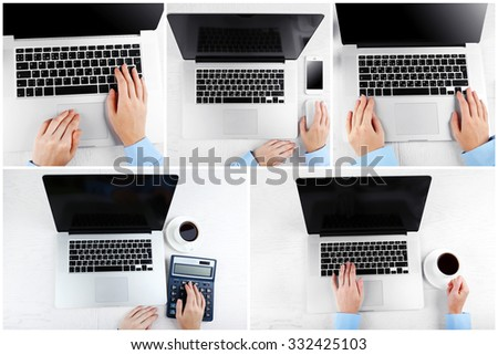 Collage of photos with hands working in the office - stock photo