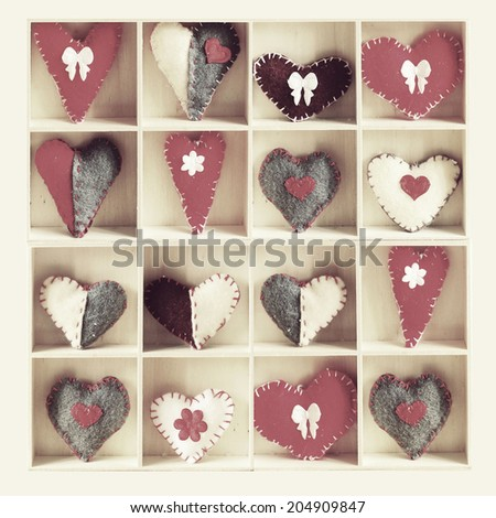 Collage of photos with hearts over  wood background - stock photo