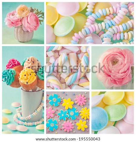 Collage of photos with pastel colored sweets  - stock photo