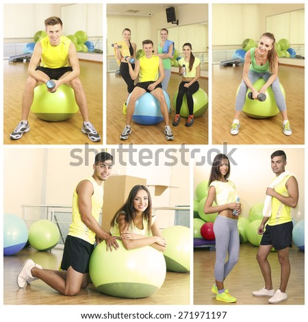 Collage of photos with young people training with gymnastic ball in gym - stock photo