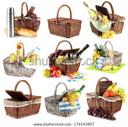 Collage of picnic baskets isolated on white - stock photo