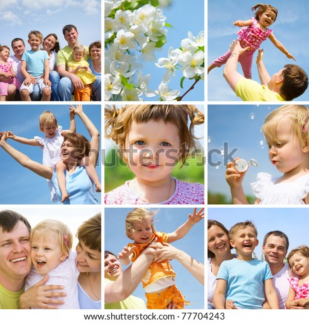 collage of pictures happy family little children in summertime outdoor - stock photo