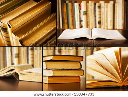 collage of pictures of books in the library - stock photo