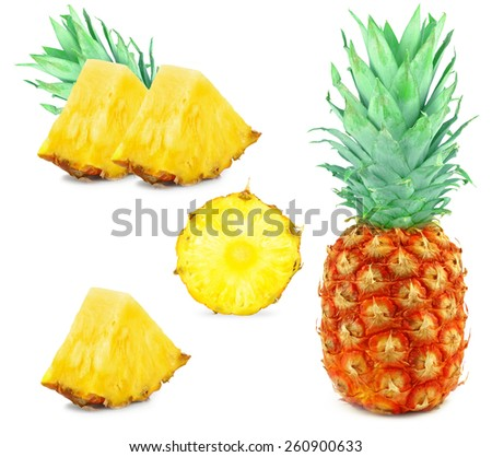 collage of pineapple slices isolated on white background - stock photo