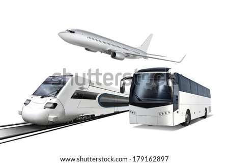 Collage of plane, train and bus isolated on white, transport for travel - stock photo