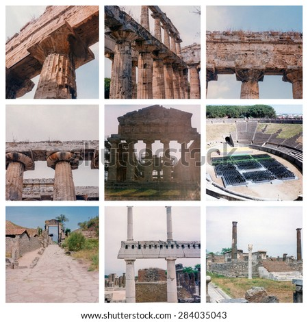 Collage of Pompeii and Peastum ancient archeological ruins including temple, theatre and city gates - stock photo