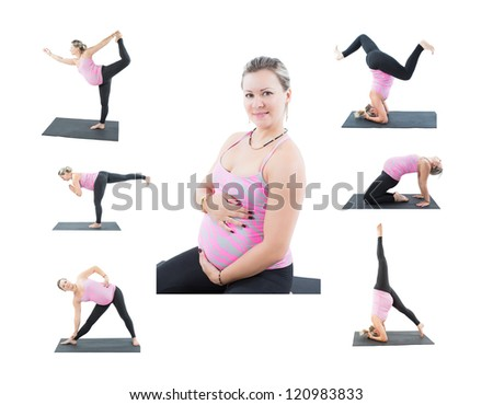Collage of pregnant fitness woman make stretch on yoga and pilates pose on white background  The concept of Sport and Health - stock photo