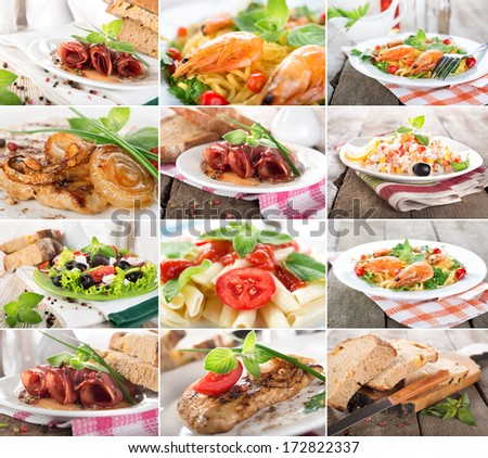 Collage of prepared dishes of meat and cereals - stock photo