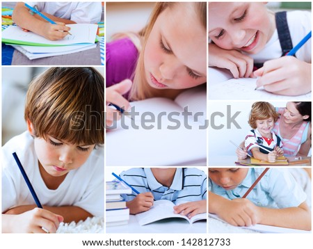 Collage of pupils studying at school - stock photo
