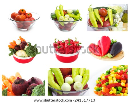 Collage of Raw Vegetables. Isolated on a White Background.  - stock photo