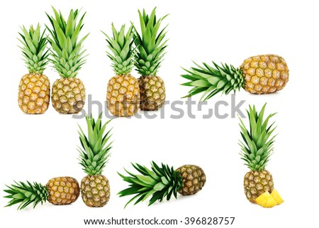 Collage of ripe pineapple isolated on a white - stock photo