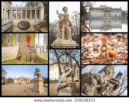 Collage of Royal Baths Park in Warsaw, Poland - stock photo