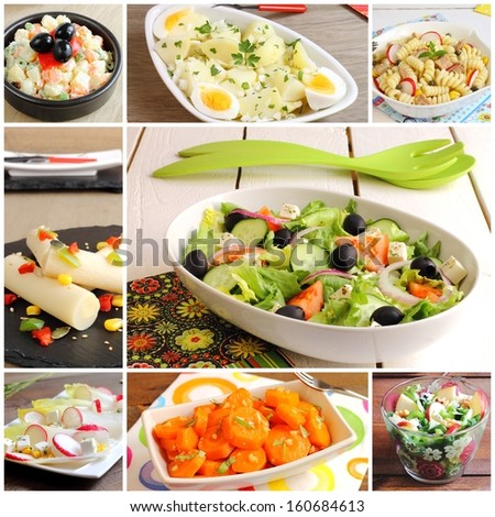 Collage of salads (Russian, potato, pasta, hearts of palm, Greek, chicory or endives, carrot and Waldorf) - stock photo