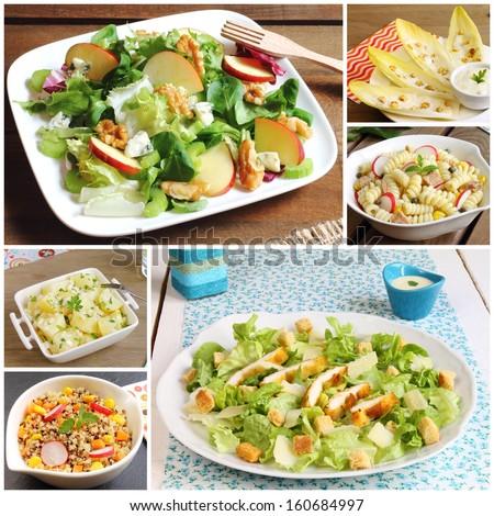 Collage of salads (Waldorf, Caesar, chicory or endives, pasta, potato and quinoa) - stock photo