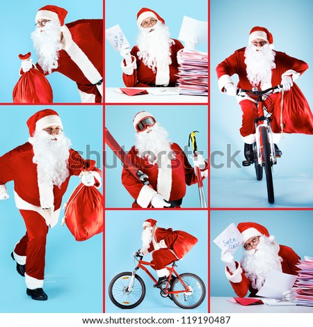 Collage of Santa Claus getting ready for Christmas - stock photo