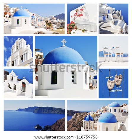 Collage of Santorini (Greece) images - travel background - stock photo
