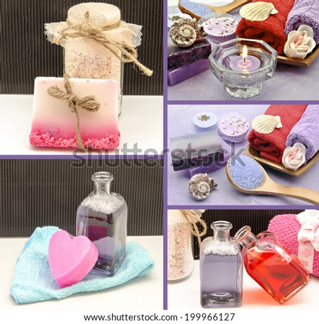 Collage of scented soaps and hygiene products - stock photo
