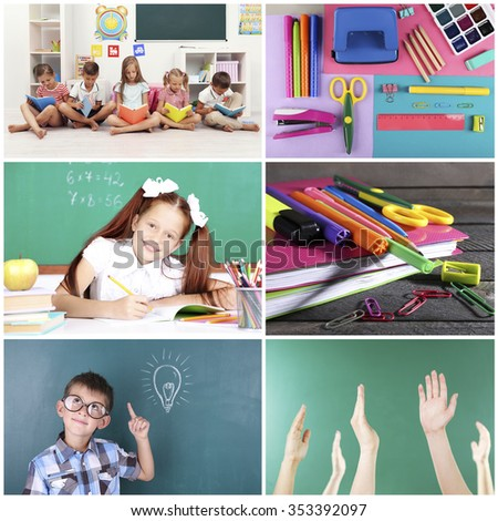 Collage of school children in studying process and education tools - stock photo