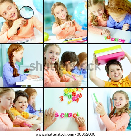 Collage of schoolchildren studying in class - stock photo