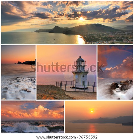 Collage of sea landscapes - stock photo