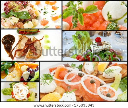Collage of seven different images of beautifully prepared and presented gourmet food including salad, meat and seafood in a catering concept - stock photo