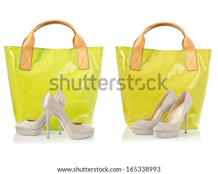 Collage of shoes and bags on white - stock photo