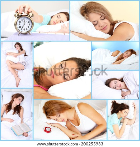 Collage of sleeping women - stock photo