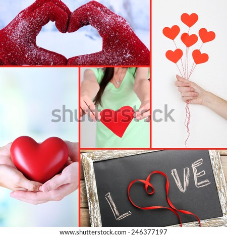 Collage of some different hearts images, Love concept - stock photo