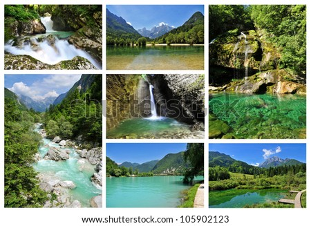 Collage of some of the most beautiful Slovenian rivers, lakes and waterfalls - stock photo