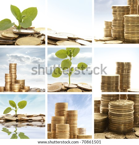 Collage of some photos with money - stock photo
