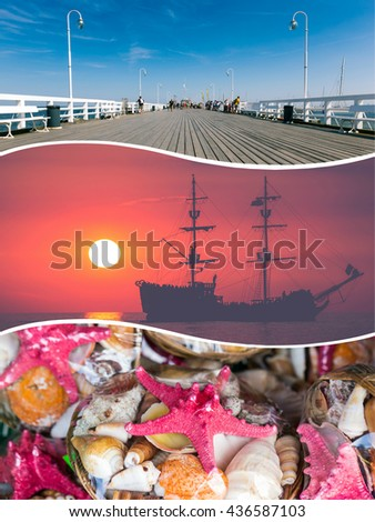 Collage of Sopot - Baltic sea (Poland) images - travel background (my photos) - stock photo