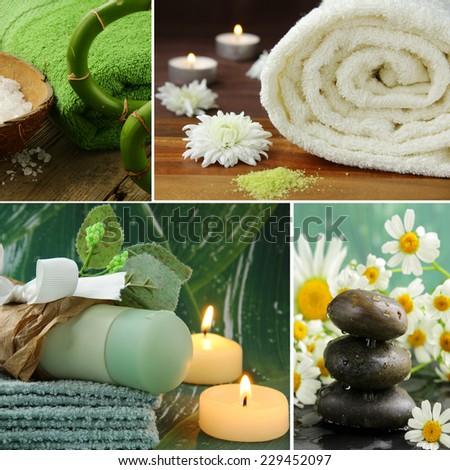 collage of spa concept - towel, aromatic salt, stones - stock photo