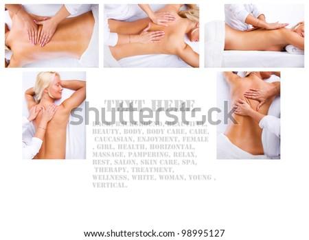 Collage of spa procedure in spa salon - stock photo