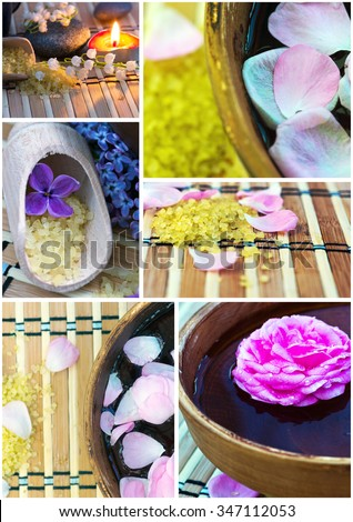 Collage of spa products. - stock photo