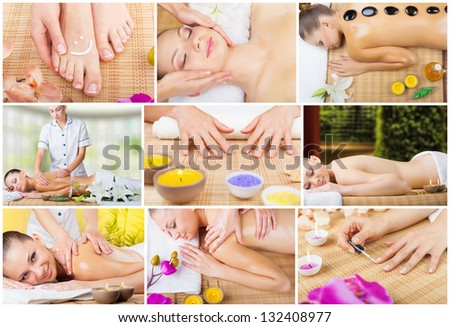 Collage of spa treatments young woman - stock photo
