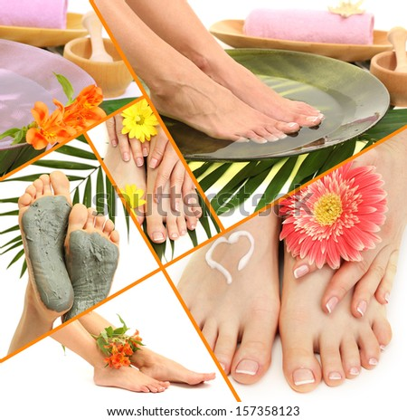 Collage of spa with beautiful legs - stock photo