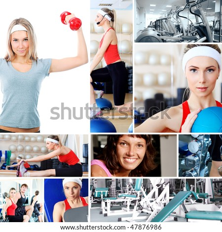 Collage of sporty pictures: people, equipment. - stock photo