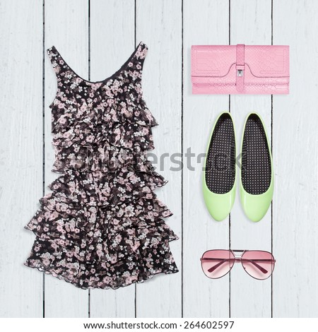 Collage of summer clothes - stock photo
