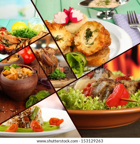 Collage of tantalizing culinary dishes - stock photo