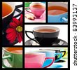 Collage of teacups in different colors on white background - stock photo