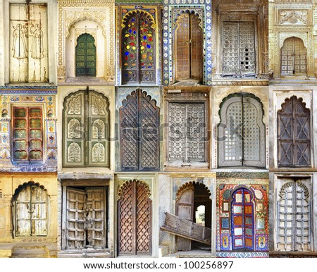 Collage of the ancient Indian doors - stock photo