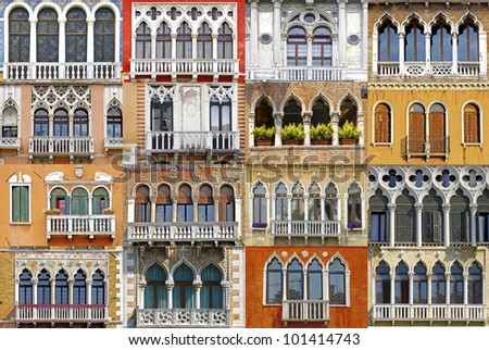 Collage of the ancient unique Venetian balconies. - stock photo