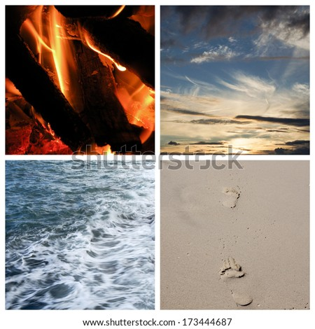 Collage of the four elements - stock photo