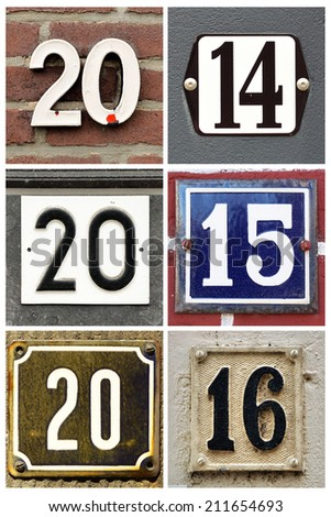 Collage of the numbers 2014, 2015 and 2016 composed from housenumber signs - stock photo